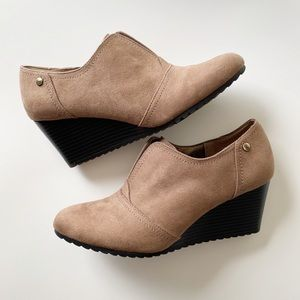 Life Stride Brown Suede Bootie Wedge